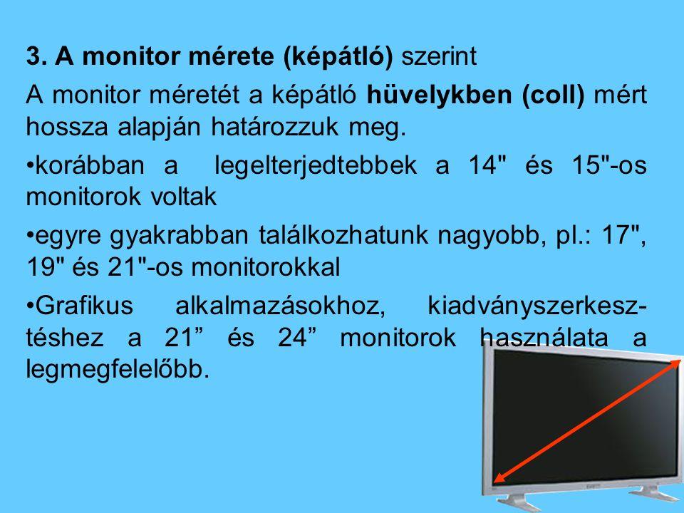3. A monitor mérete (képátló) szerint