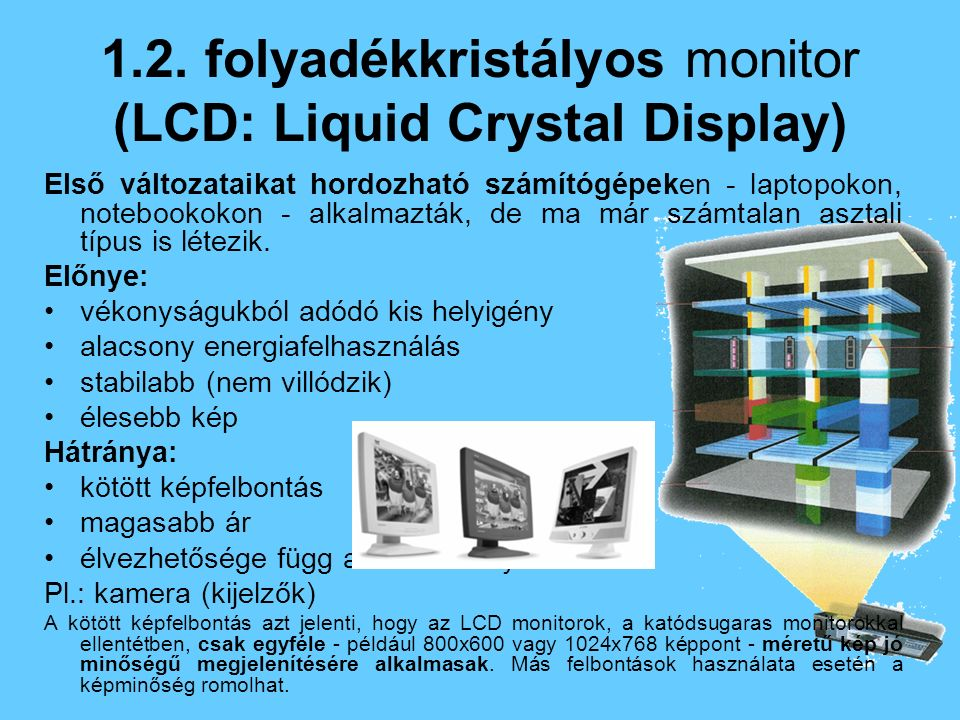 1.2. folyadékkristályos monitor (LCD: Liquid Crystal Display)
