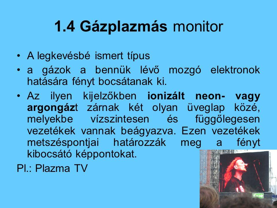 1.4 Gázplazmás monitor A legkevésbé ismert típus