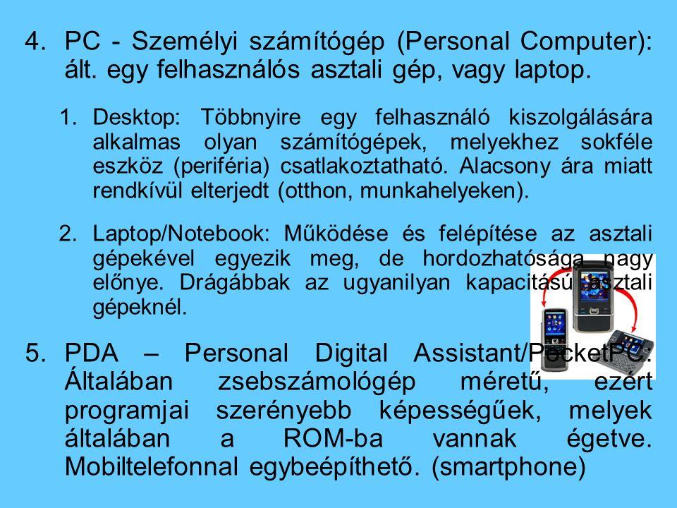 PC - Személyi számítógép (Personal Computer): ált