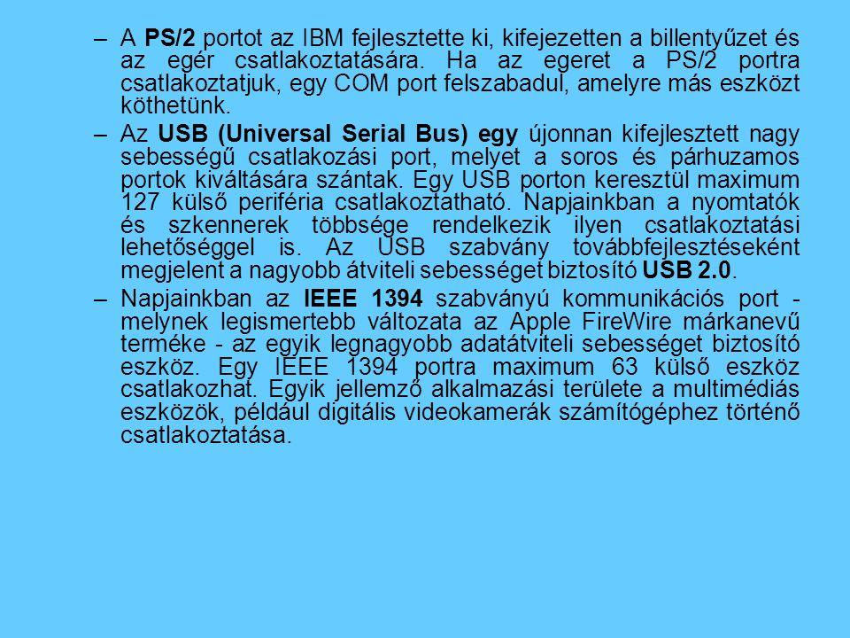 A PS/2 portot az IBM fejlesztette ki, kifejezetten a billentyűzet és az egér csatlakoztatására. Ha az egeret a PS/2 portra csatlakoztatjuk, egy COM port felszabadul, amelyre más eszközt köthetünk.