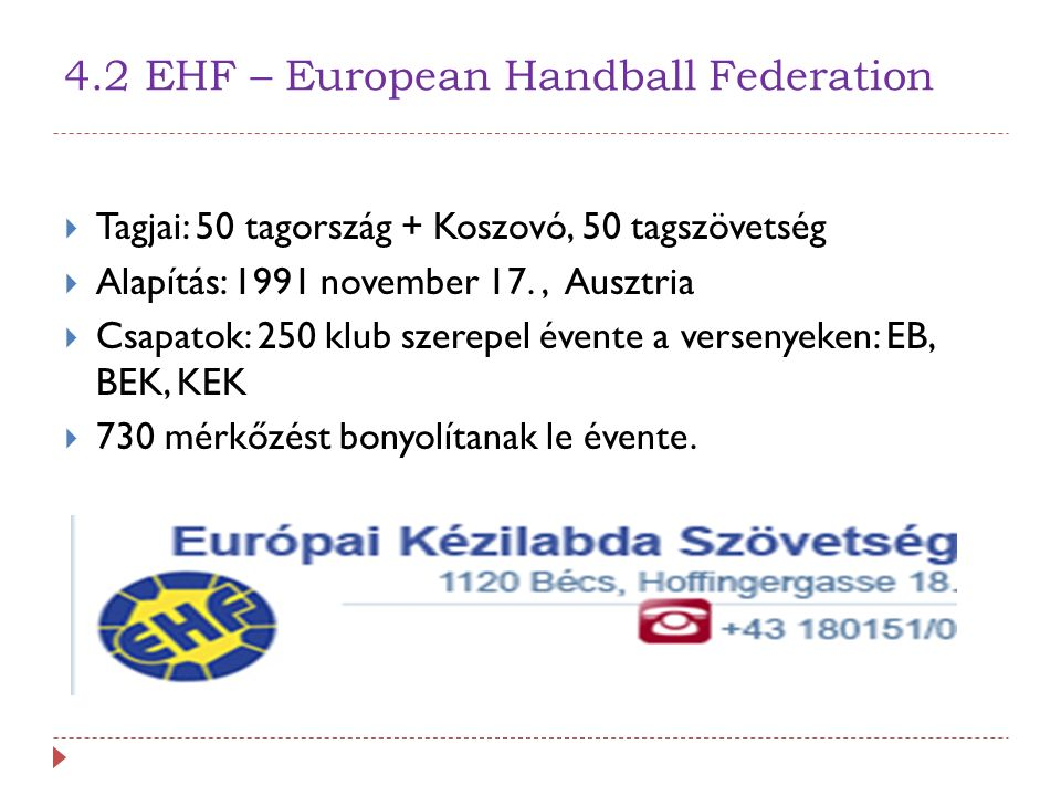 4.2 EHF – European Handball Federation