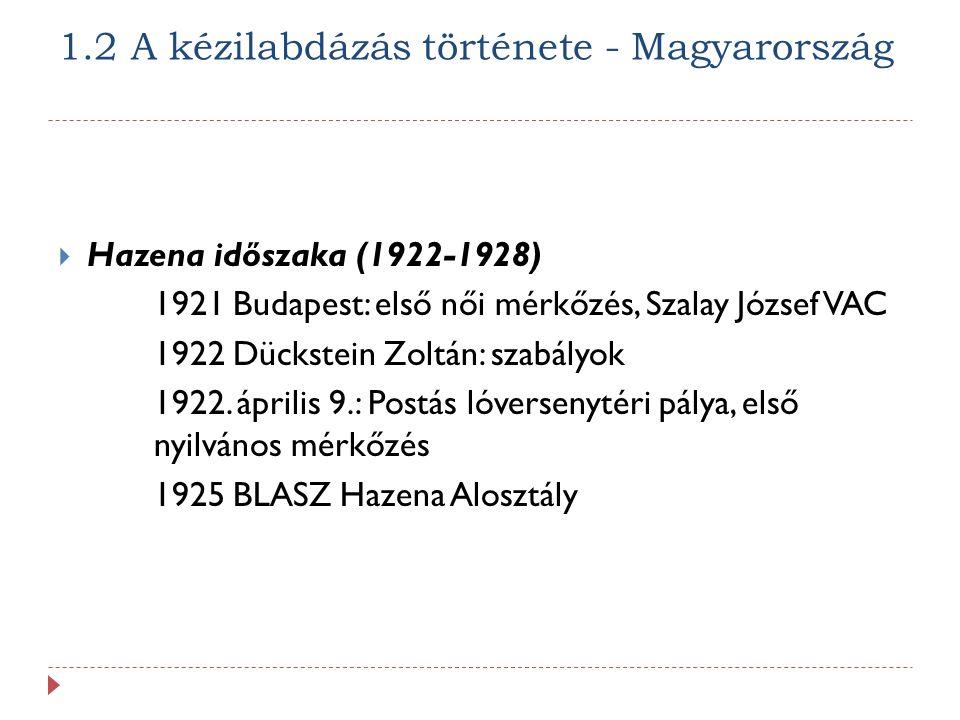 1.2 A kézilabdázás története - Magyarország