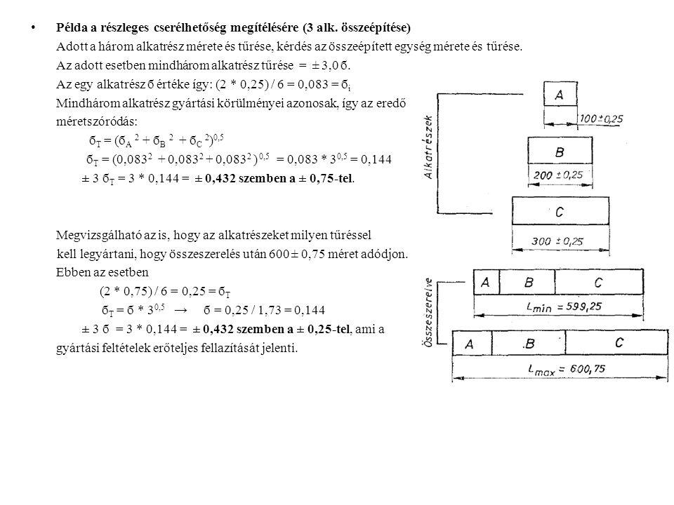 Példa a részleges cserélhetőség megítélésére (3 alk. összeépítése)