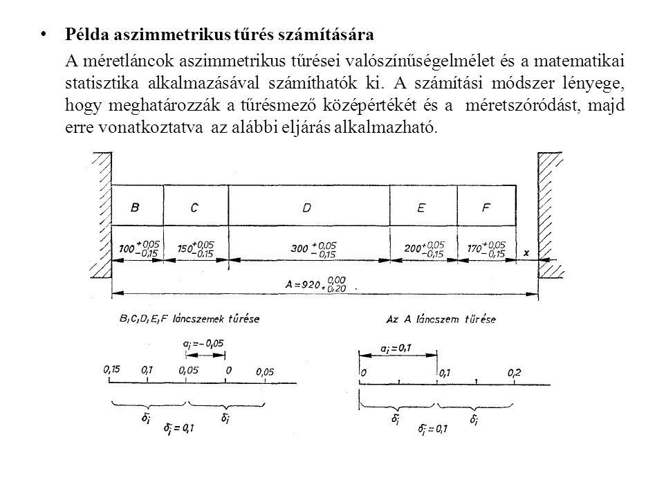 Példa aszimmetrikus tűrés számítására