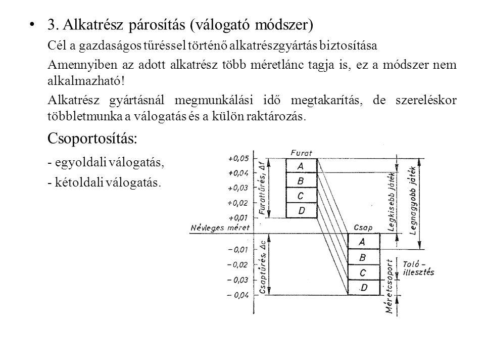 3. Alkatrész párosítás (válogató módszer)