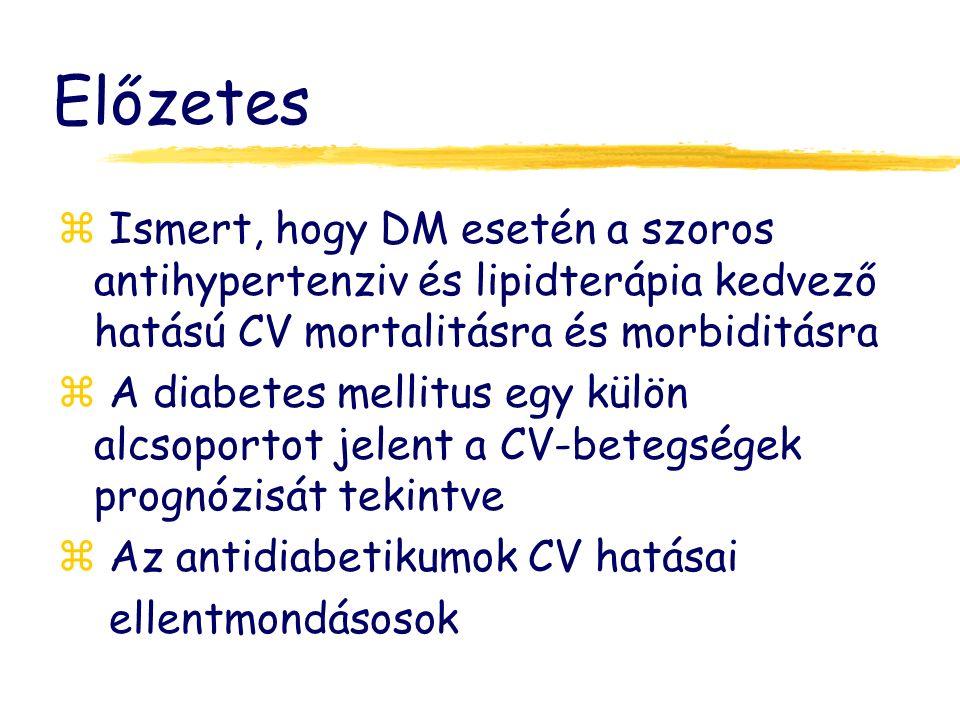 Előzetes Ismert, hogy DM esetén a szoros antihypertenziv és lipidterápia kedvező hatású CV mortalitásra és morbiditásra.