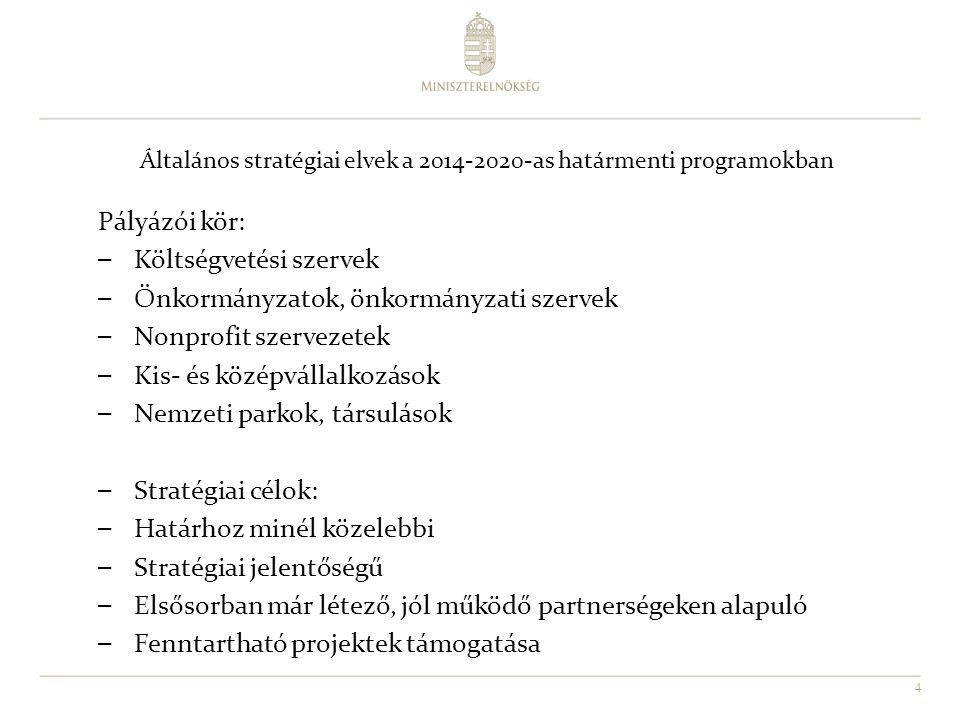 Általános stratégiai elvek a 2014-2020-as határmenti programokban