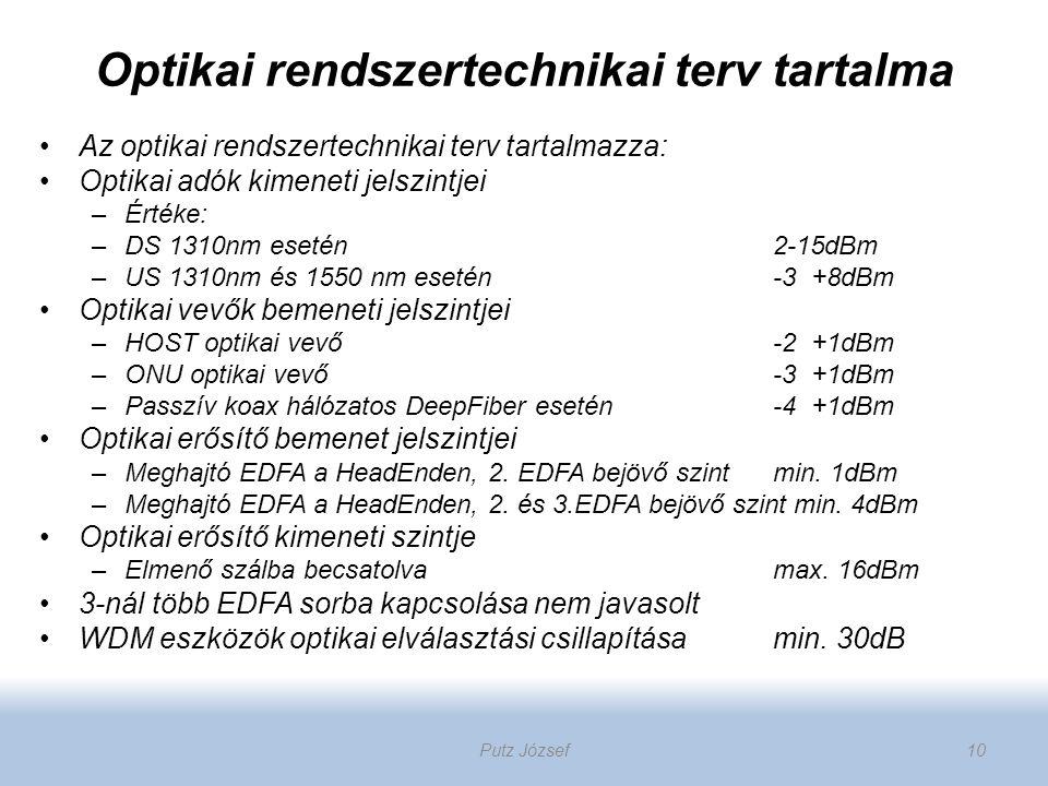 Optikai rendszertechnikai terv tartalma