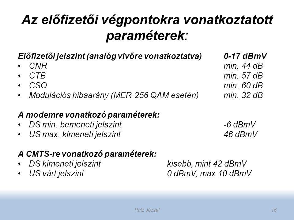 Az előfizetői végpontokra vonatkoztatott paraméterek: