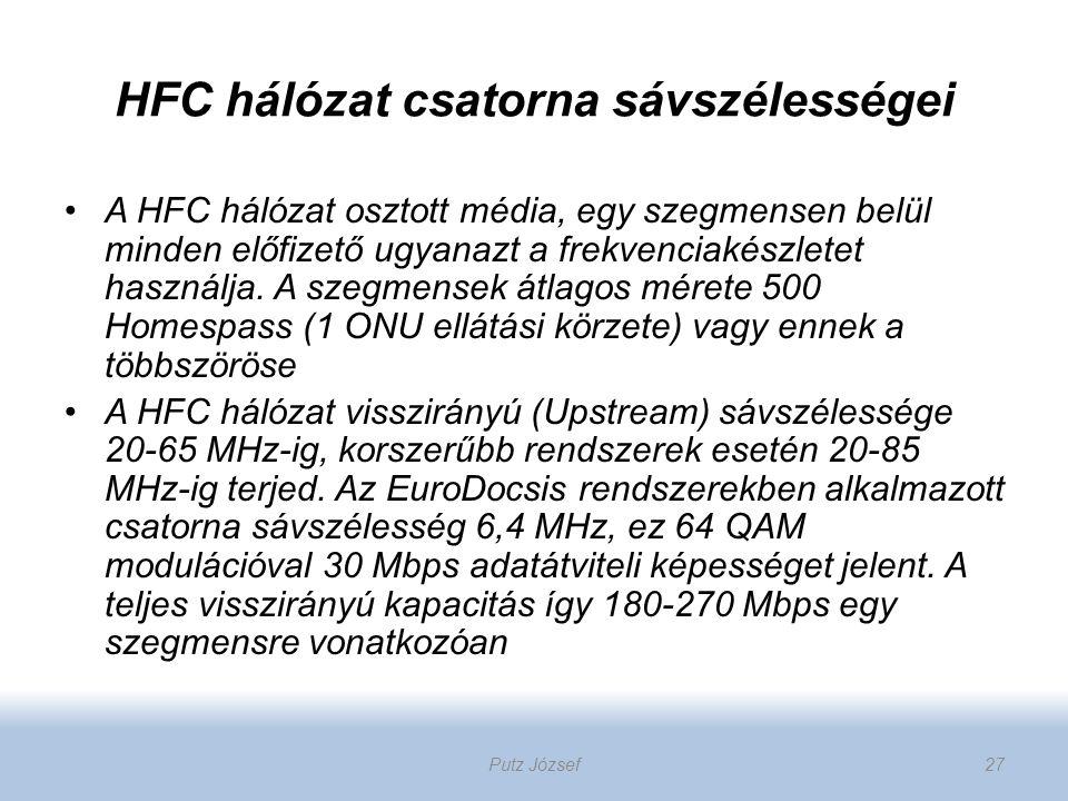 HFC hálózat csatorna sávszélességei