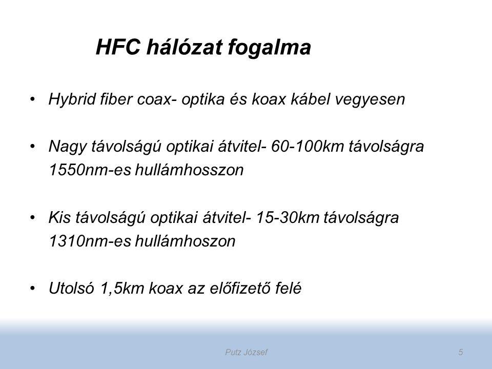 HFC hálózat fogalma Hybrid fiber coax- optika és koax kábel vegyesen