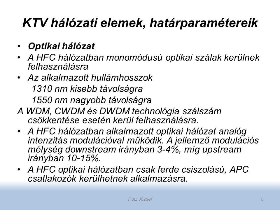 KTV hálózati elemek, határparamétereik