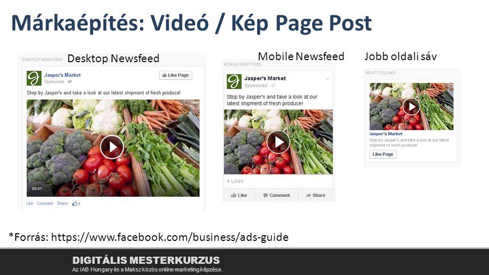 Márkaépítés: Videó / Kép Page Post