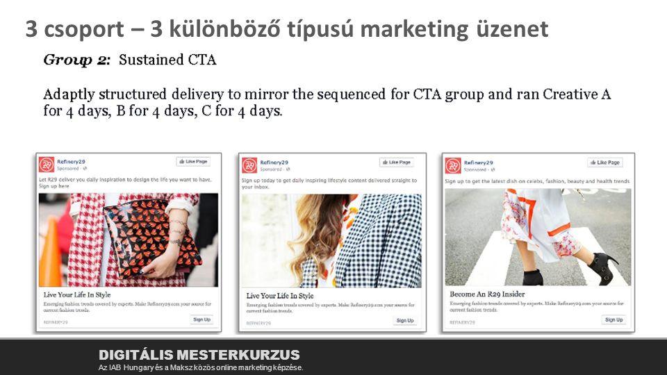 3 csoport – 3 különböző típusú marketing üzenet