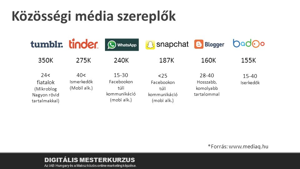 Közösségi média szereplők