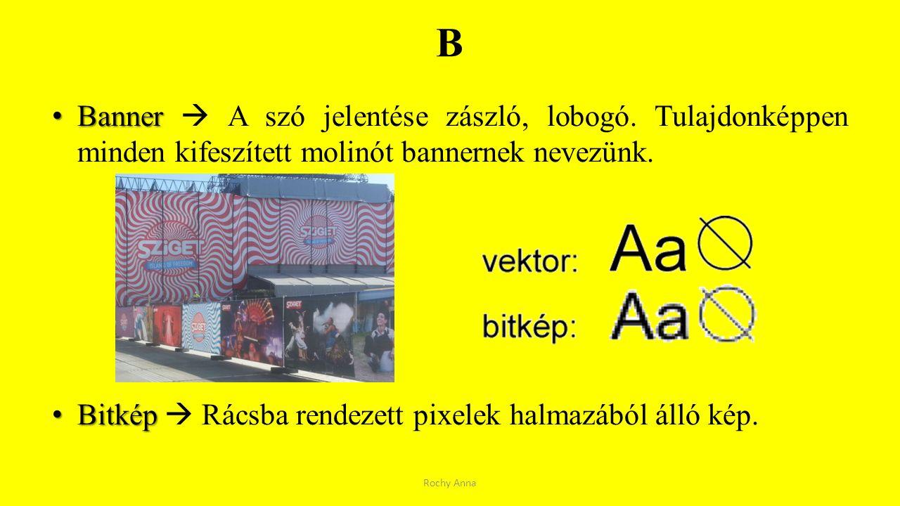 B Banner  A szó jelentése zászló, lobogó. Tulajdonképpen minden kifeszített molinót bannernek nevezünk.