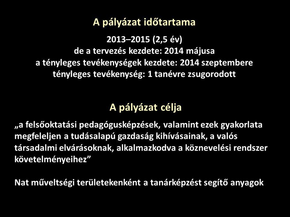 A pályázat időtartama 2013–2015 (2,5 év)
