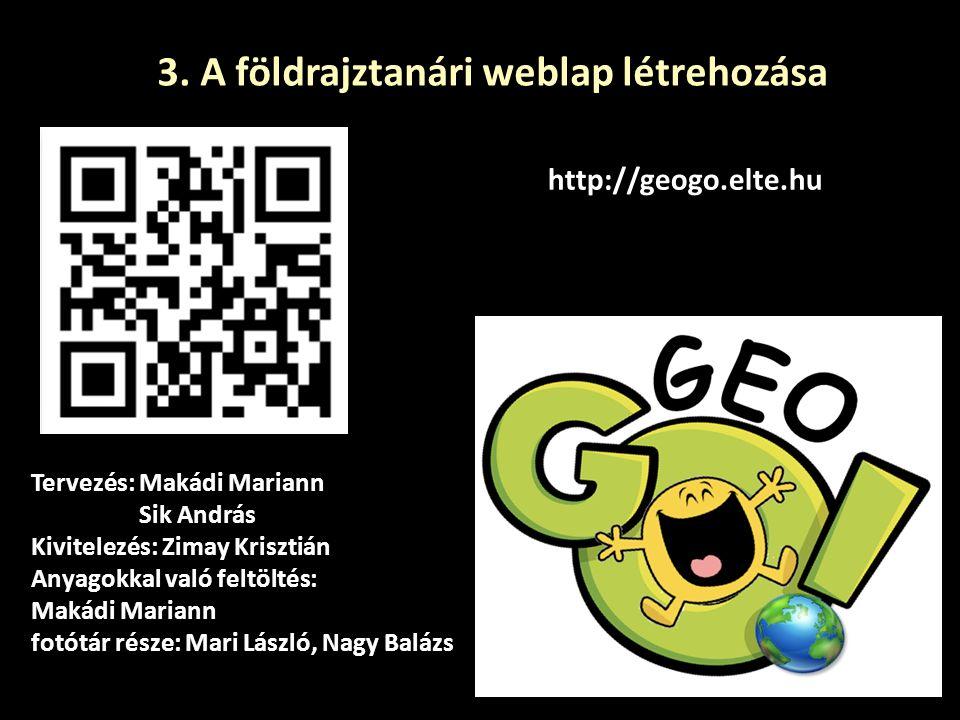 3. A földrajztanári weblap létrehozása