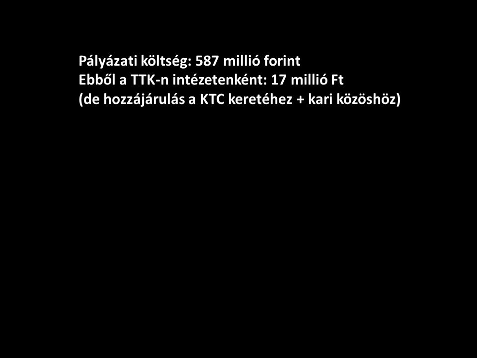 Pályázati költség: 587 millió forint