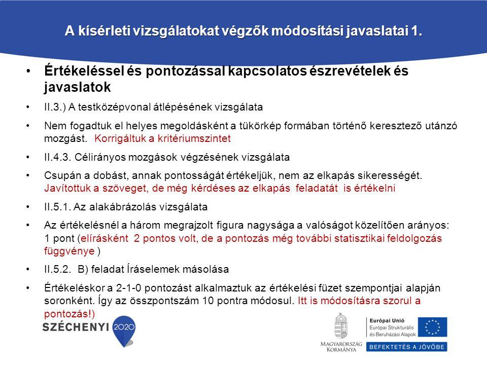 A kísérleti vizsgálatokat végzők módosítási javaslatai 1.