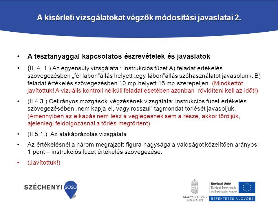 A kísérleti vizsgálatokat végzők módosítási javaslatai 2.
