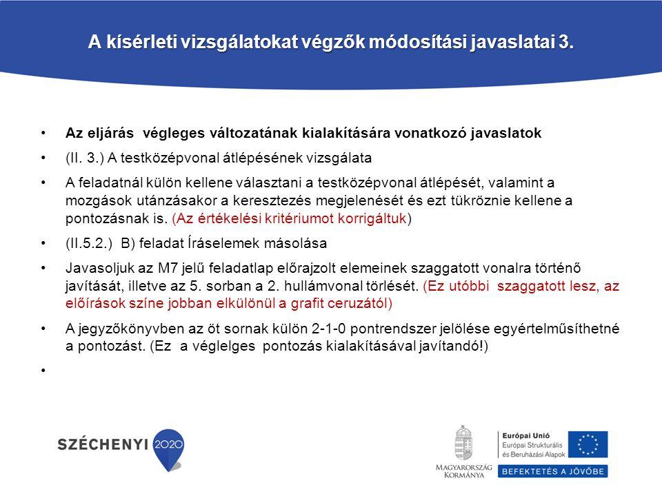 A kísérleti vizsgálatokat végzők módosítási javaslatai 3.