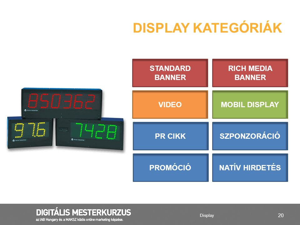 Display kategóriák STANDARD BANNER RICH MEDIA BANNER VIDEO