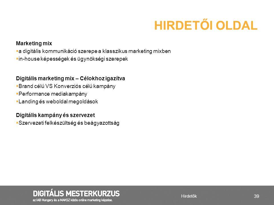 HIRDETŐI OLDAL Marketing mix
