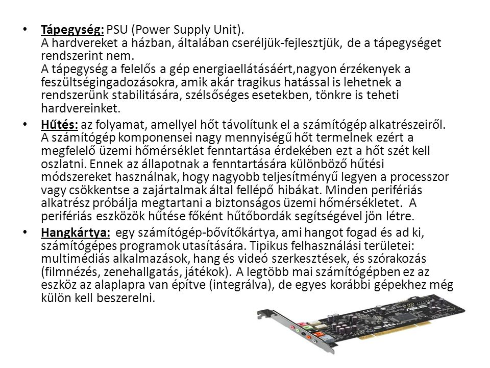Tápegység: PSU (Power Supply Unit)
