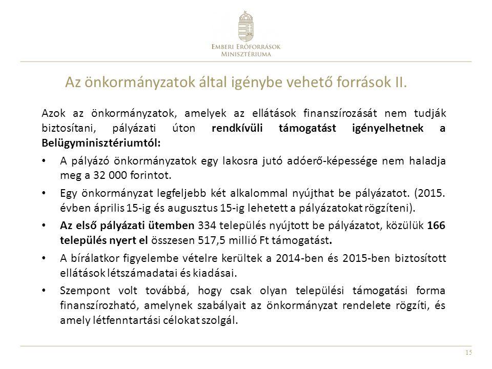 Az önkormányzatok által igénybe vehető források II.