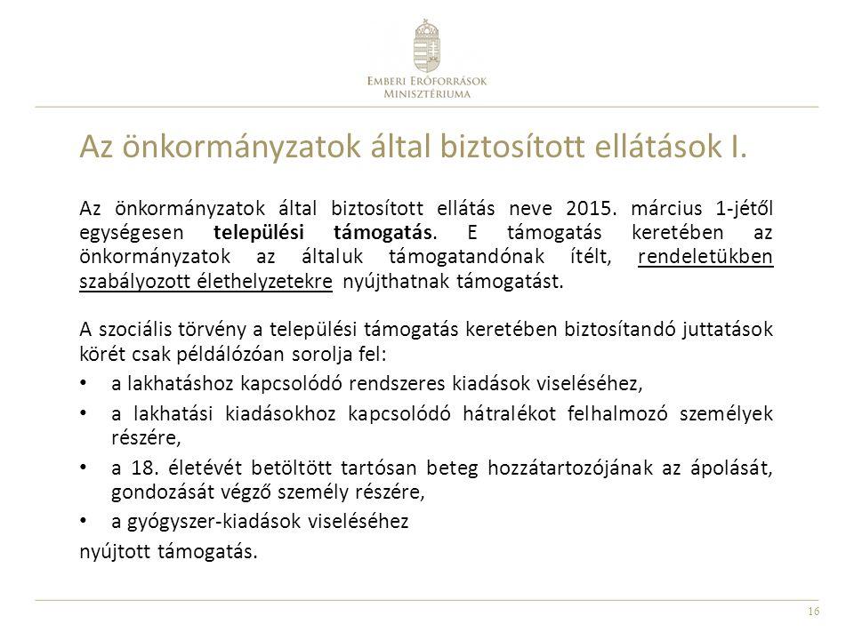 Az önkormányzatok által biztosított ellátások I.
