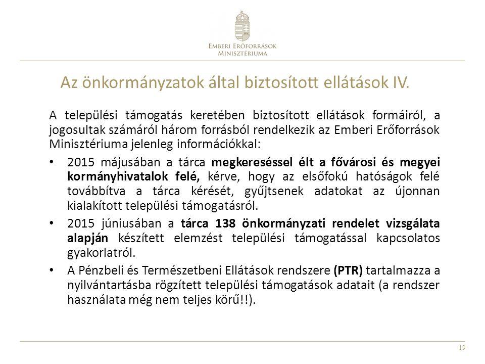 Az önkormányzatok által biztosított ellátások IV.