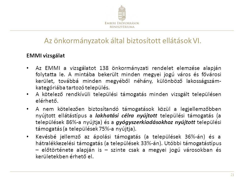 Az önkormányzatok által biztosított ellátások VI.