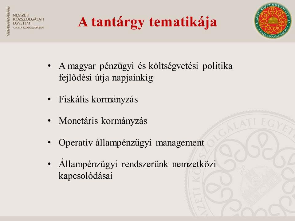 A tantárgy tematikája A magyar pénzügyi és költségvetési politika fejlődési útja napjainkig. Fiskális kormányzás.