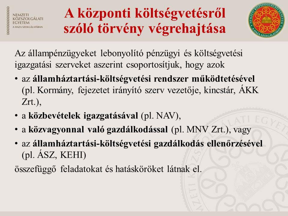 A központi költségvetésről szóló törvény végrehajtása