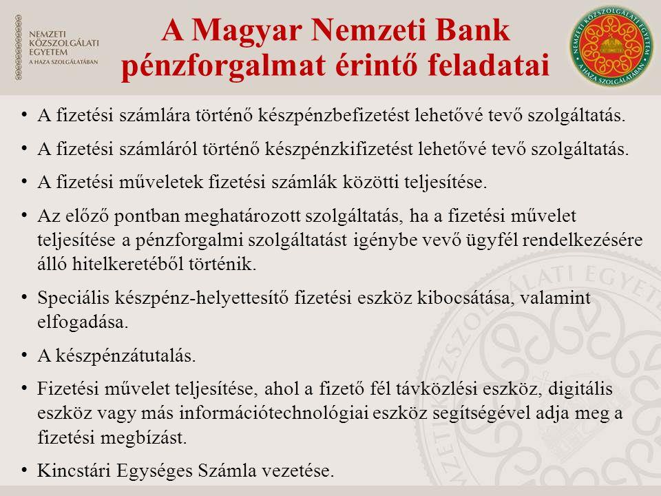 A Magyar Nemzeti Bank pénzforgalmat érintő feladatai