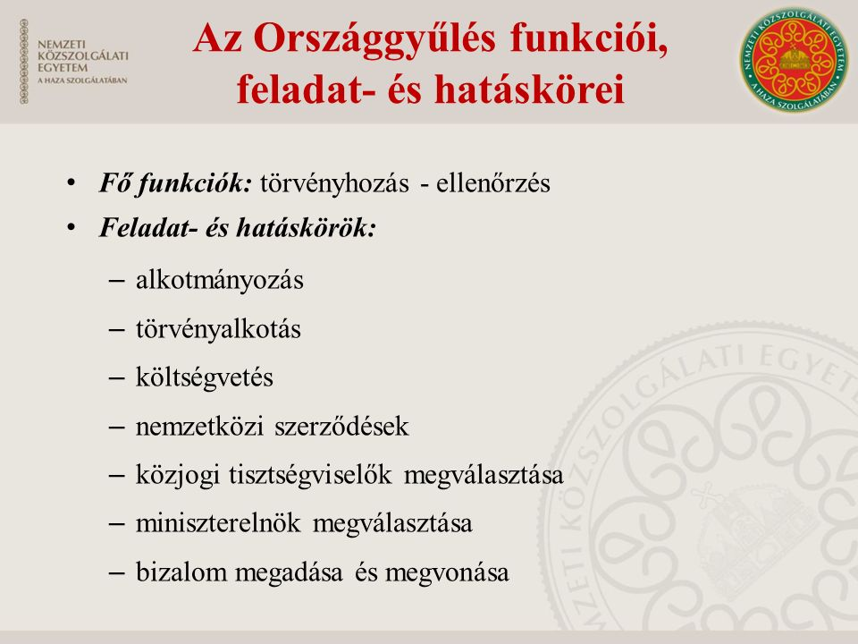 Az Országgyűlés funkciói, feladat- és hatáskörei