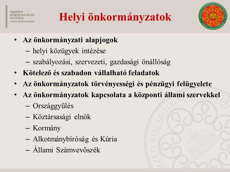 Helyi önkormányzatok Az önkormányzati alapjogok