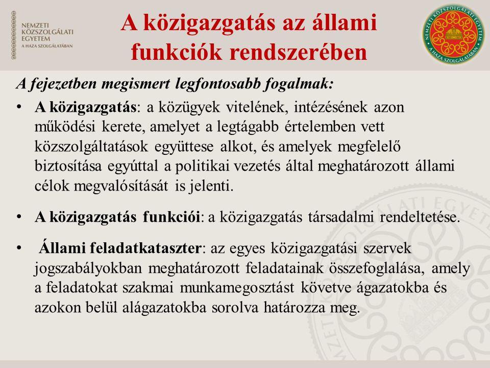 A közigazgatás az állami funkciók rendszerében