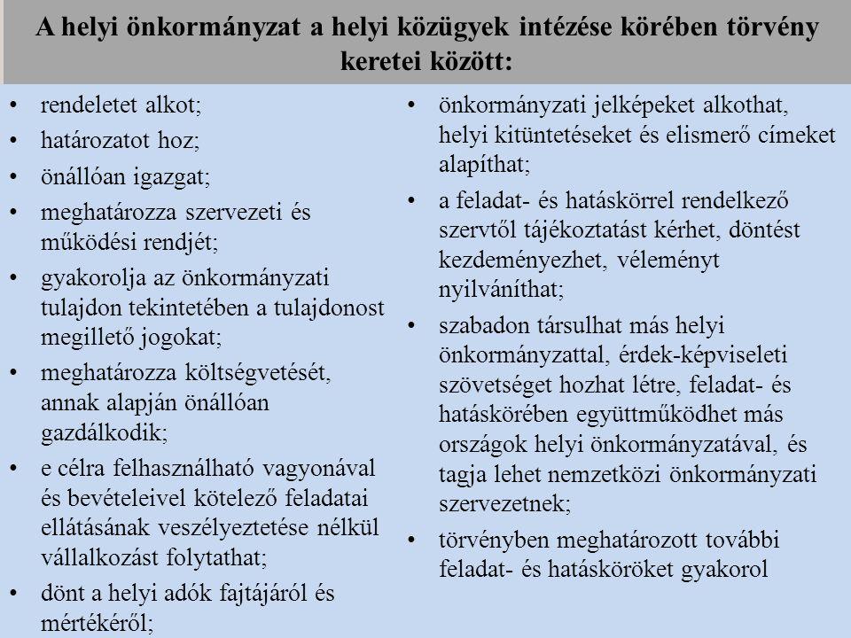 A helyi önkormányzat a helyi közügyek intézése körében törvény keretei között: