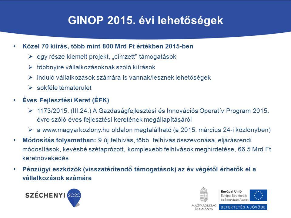 """GINOP 2015. évi lehetőségek Közel 70 kiírás, több mint 800 Mrd Ft értékben 2015-ben. egy része kiemelt projekt, """"címzett támogatások."""