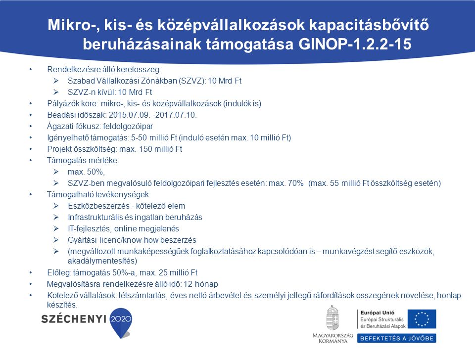 Mikro-, kis- és középvállalkozások kapacitásbővítő beruházásainak támogatása GINOP-1.2.2-15