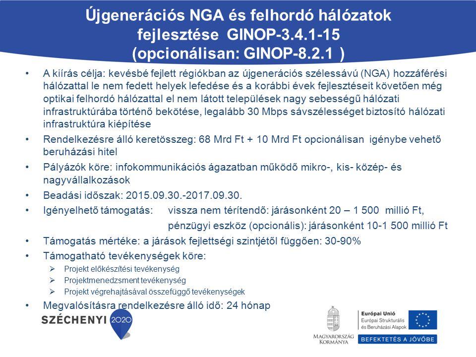 Újgenerációs NGA és felhordó hálózatok fejlesztése GINOP-3. 4