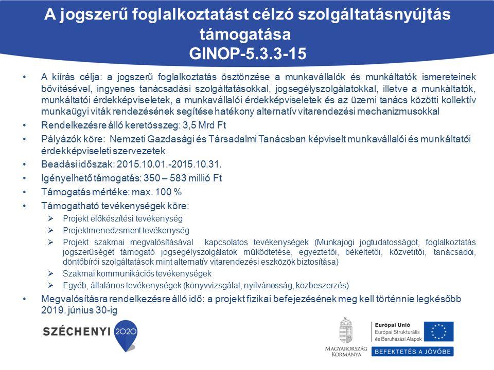 A jogszerű foglalkoztatást célzó szolgáltatásnyújtás támogatása GINOP-5.3.3-15