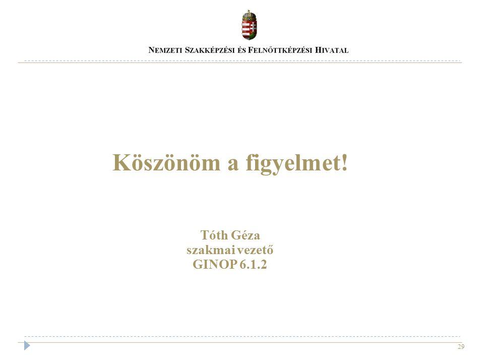 Köszönöm a figyelmet! Tóth Géza szakmai vezető GINOP 6.1.2