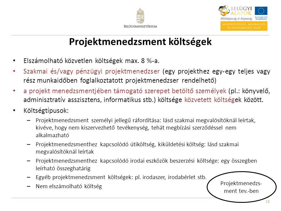 Projektmenedzsment költségek