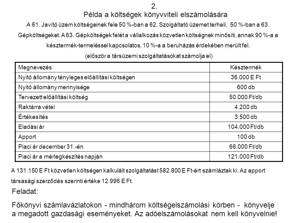Példa a költségek könyvviteli elszámolására
