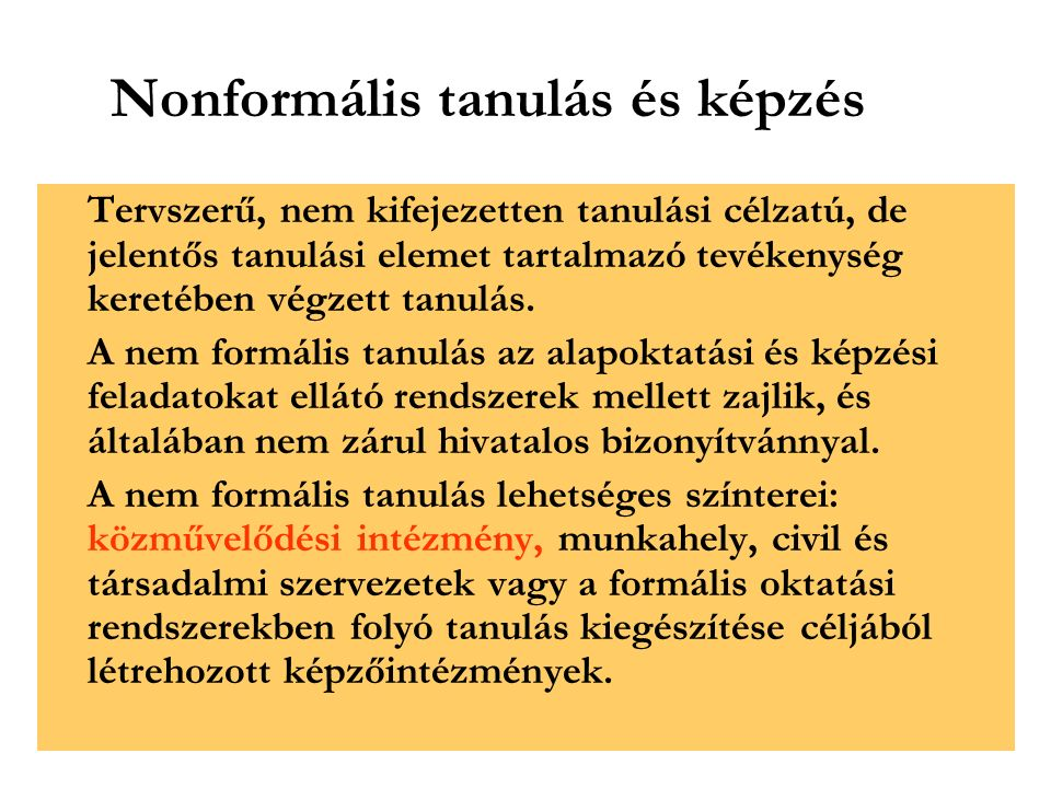Nonformális tanulás és képzés