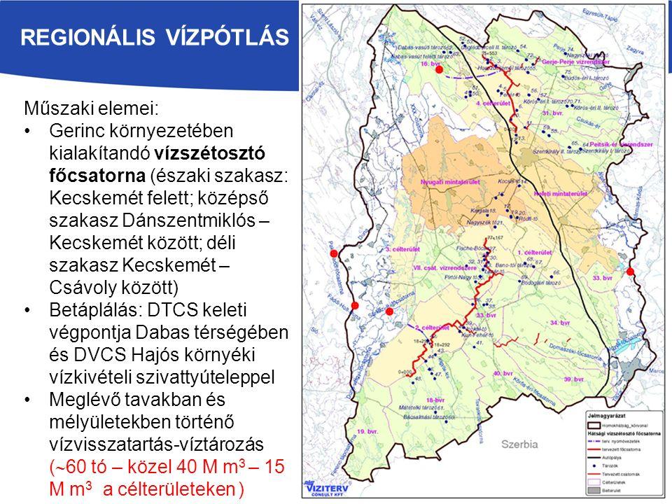 regionális vízpótlás Műszaki elemei: